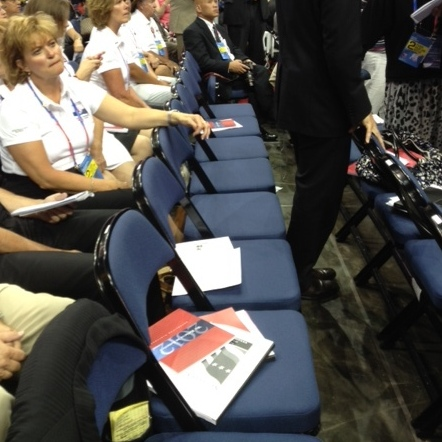 In the Maine delegation, some empty seats because a handful of their occupants walked out after some Ron Paul supporters weren't allowed to be delegates.