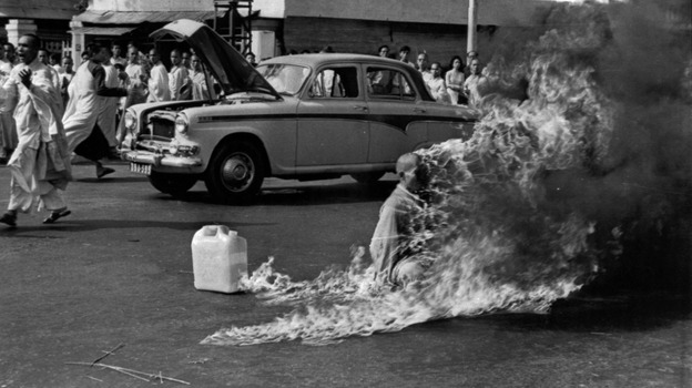 Journalist Malcome Browne took this iconic photo of the self-immolation of Buddhist monk Thich Quang Duc in Saigon in 1963. The monk committed suicide to protest what he called government persecution of Buddhists. Browne, who worked for the AP and later The New York Times, died Monday at age 81. (AP)
