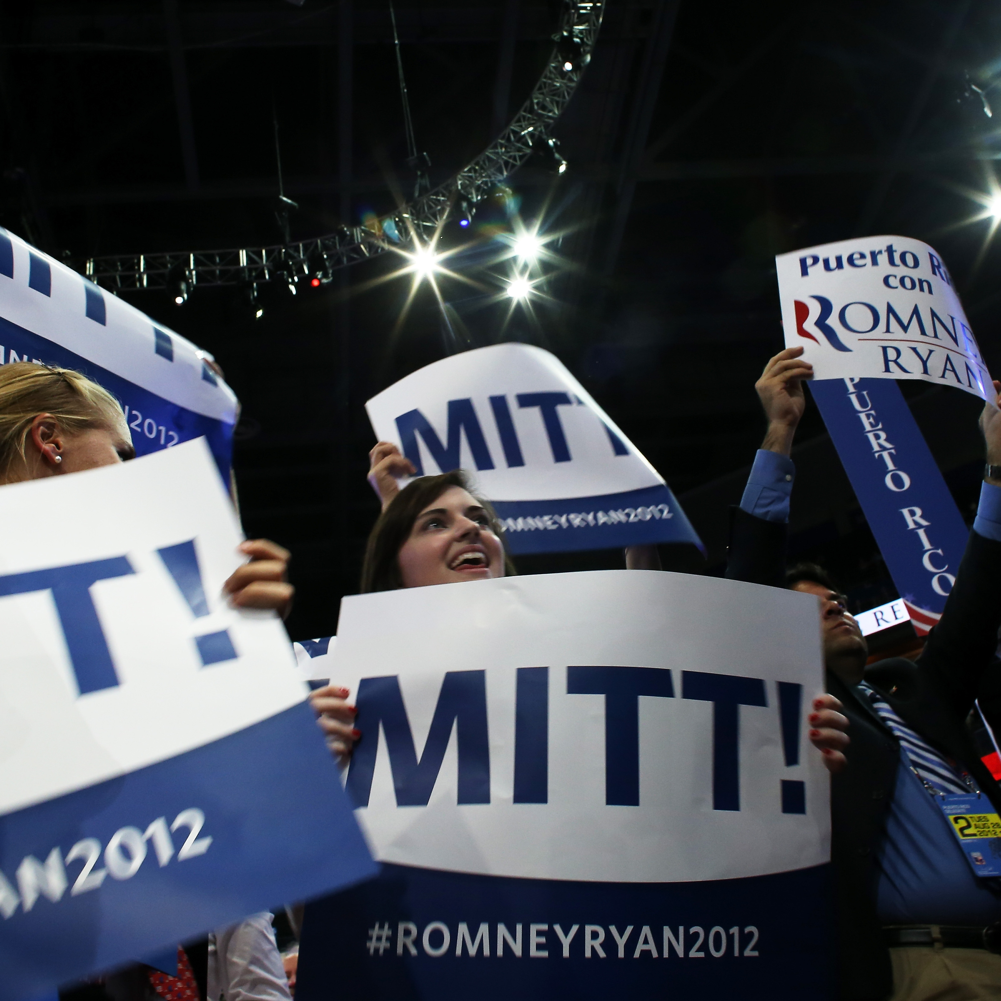 Some of the scene on the floor of the Republican National Convention Tuesday evening.