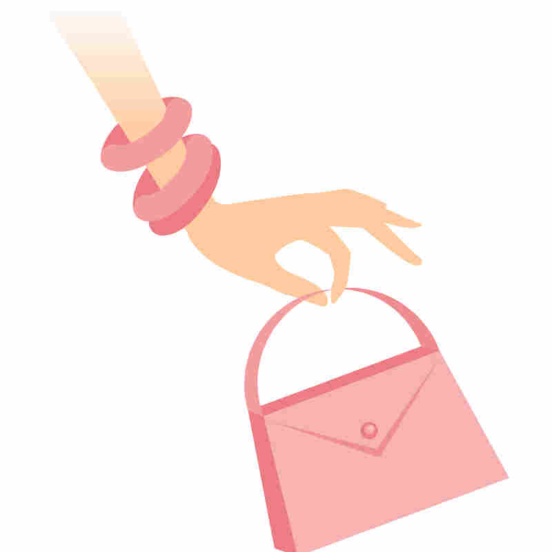 A pink hand and purse.