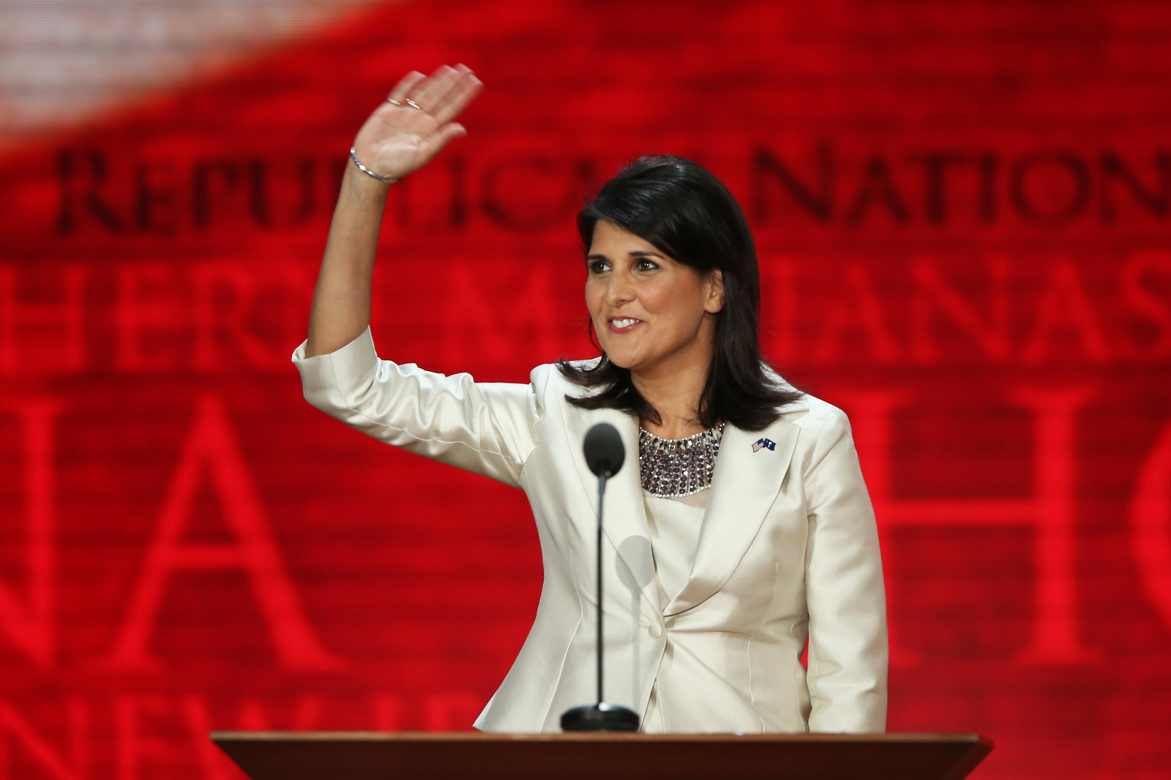 South Carolina Gov. Nikki Haley received one of the biggest cheers of the night after saying that if you need to show an identification card to get on an airplane, you should also need to show an ID to vote.