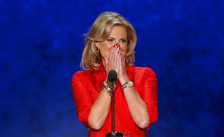 Ann Romney, wife of Mitt, reacts as she takes the stage to address delegates during tthe Republican National Convention in Tampa, Fla. (Reuters/Landov)