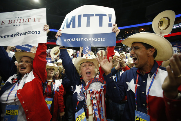 Texas delegates cheer as Romney is formally nominated as the Republican Party's presidential candidate. (AP)