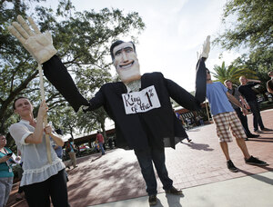 Protesters march in Tampa.