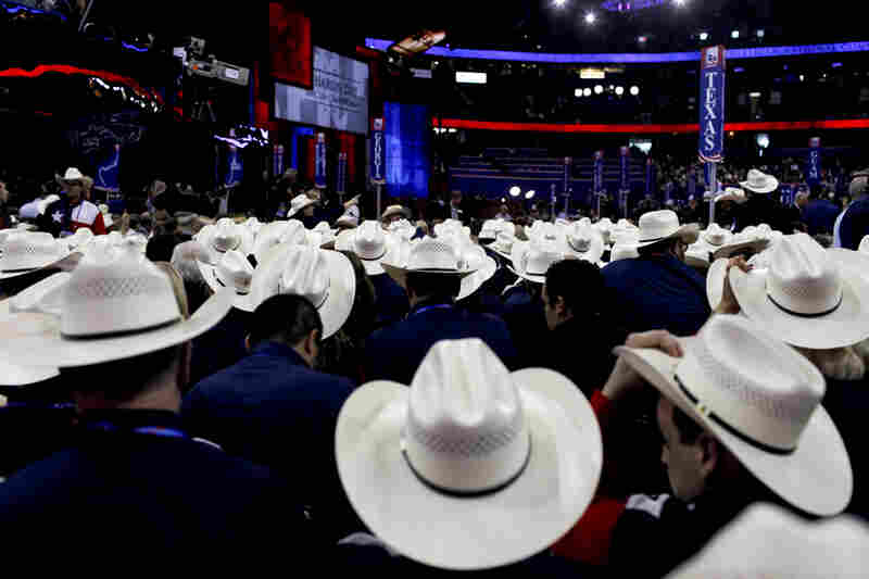 Republican National Convention events began in earnest Tuesday, with delegates from all over the country wearing their state pride atop their heads. Texas delegates are easy to recognize.