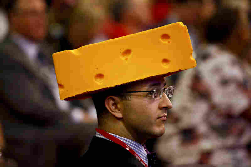 Wisconsin delegate Sol Grosskopf shows his cheesy side.