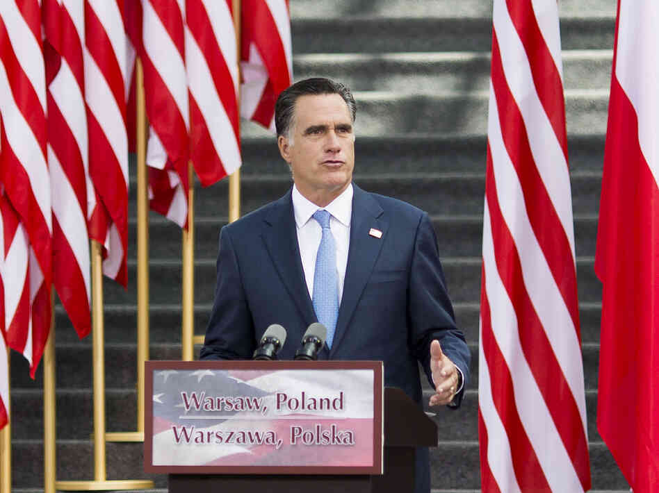 U.S. Republican presidential candidate, former Massachusetts Governor Mitt Romney speaks in the Hall of the University of Warsaw Library on July 31, 2012 in Warsaw, Poland. After visiting London, Israel, and the polish city of Gdansk, Romney traveled to Warsaw to meet with the Polish President and Polish Foreign Minister Radoslaw Sikorski.