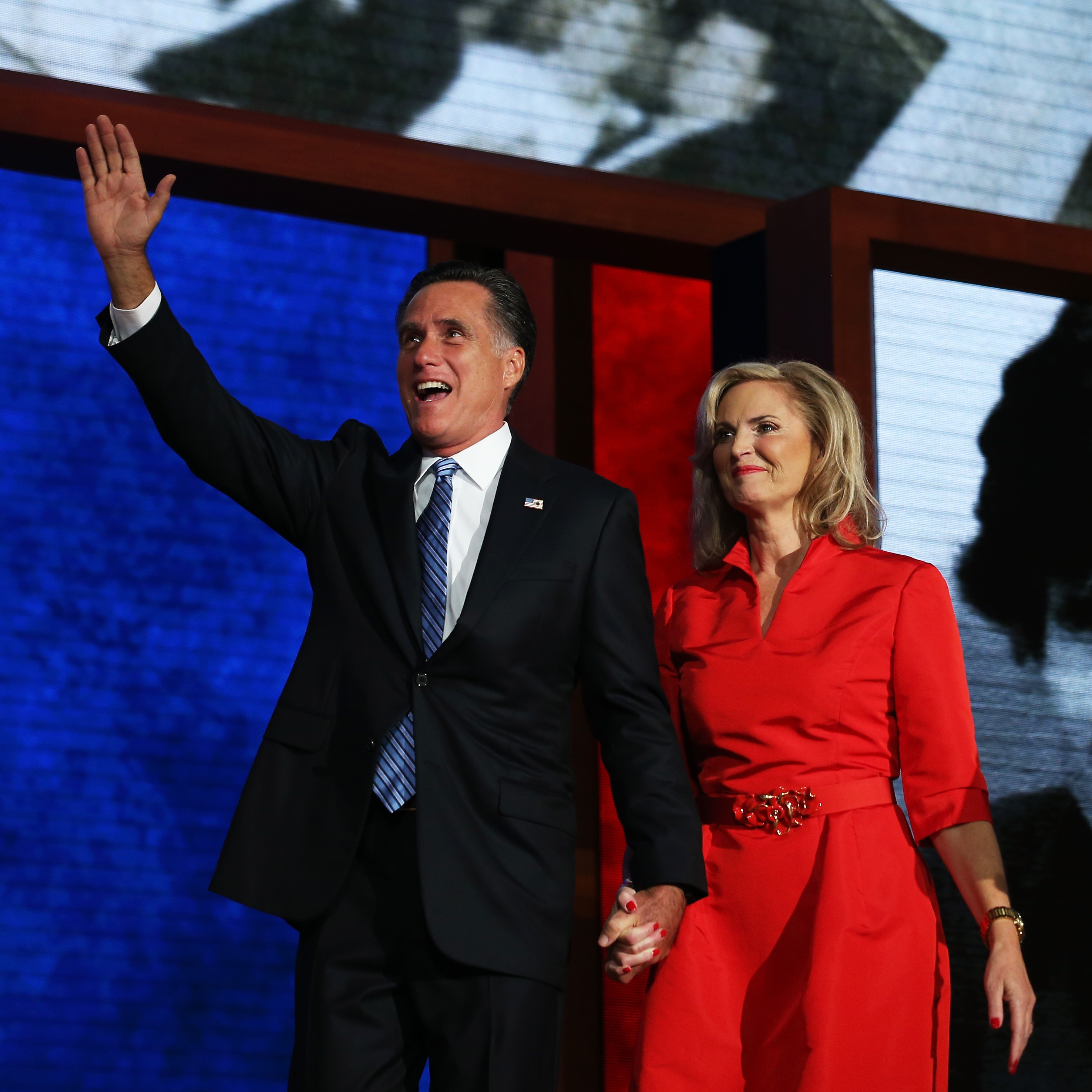 Mitt Romney and his wife Ann Romney on the stage of the Republican National Convention in Tampa after her address to the delegates. He officially became the party's presidential nominee Tuesday.