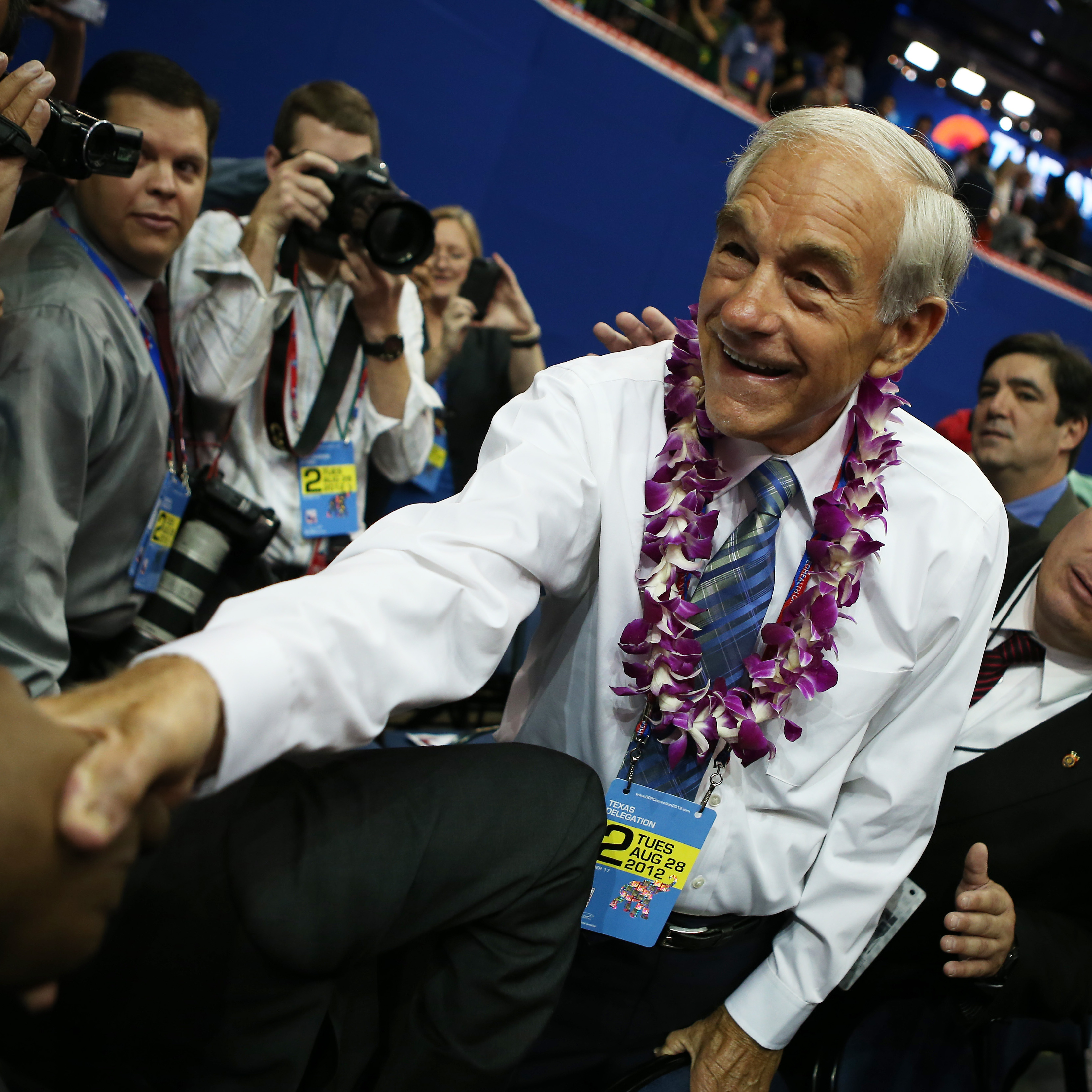 Rep. Ron Paul, R-Texas, and his supporters made some noise a few minutes before the 2012 Republican National Convention convened in Tampa. He walked across the convention floor, to the delight of his supporters.