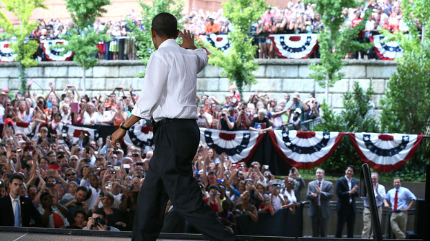President Obama waves to supporters during a campaign stop Wednesday in Charlottesville, Va. He later participated in a question-and-answer session on Reddit. (Getty Images)
