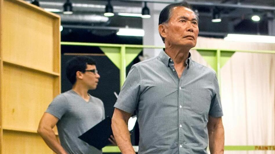 George Takei rehearses a scene from Allegiance, a new musical inspired by Takei's childhood in Japanese-American internment camps during World War II. (Courtesy of The Old Globe)