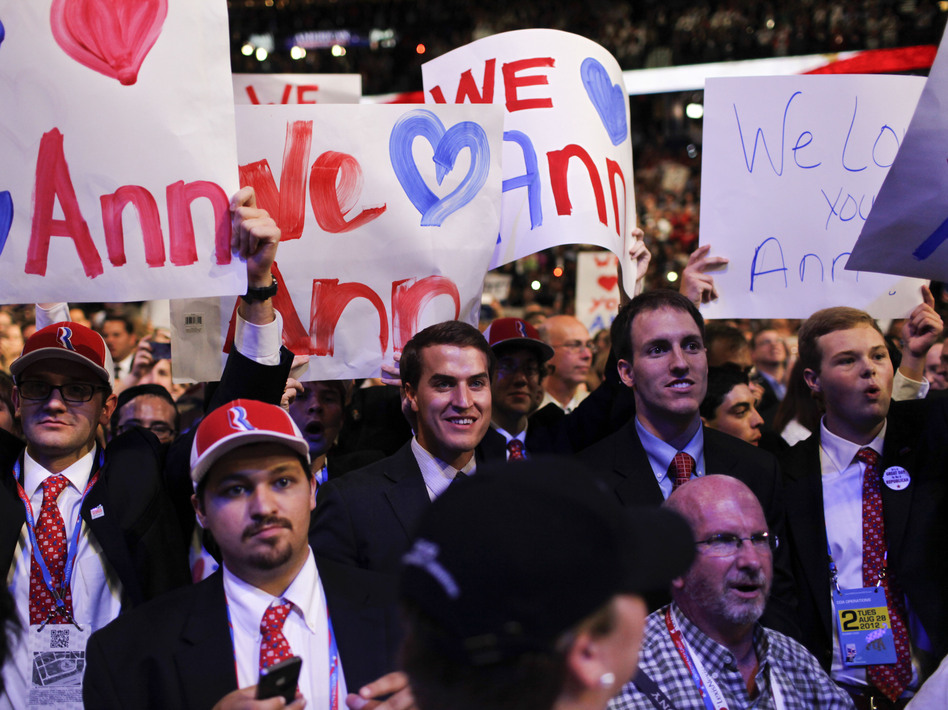 Supporters react during Ann Romney's speech on Tuesday at the Republican National Convention.