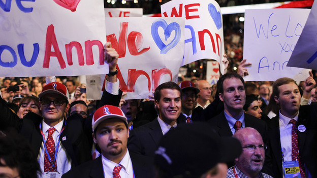 Supporters react during Ann Romney's speech on Tuesday at the Republican National Convention. (NPR)