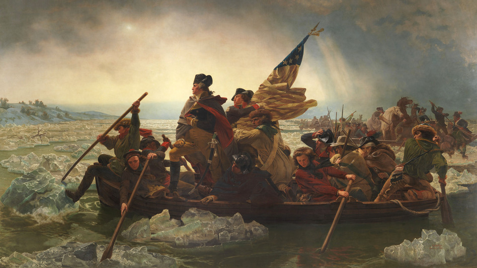 In his book, Robert Sullivan considers, among other things, how little Emanuel Leutze's 1851 painting Washington Crossing the Delaware has in common with the actual historic crossing, which took place at night and during a snowstorm. (AP)