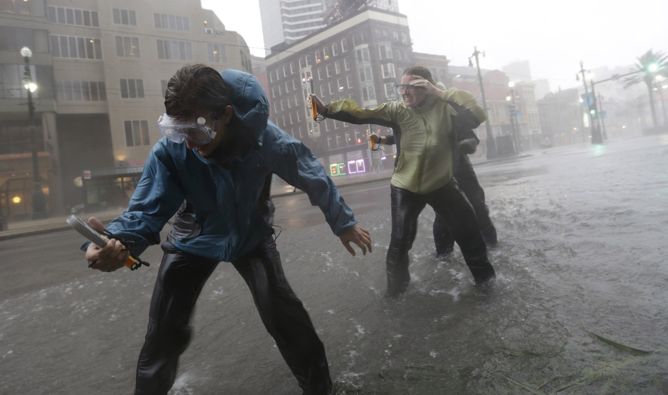 Research students from the the University of Alabama measure wind speeds as Hurricane Isaac makes landfall Tuesday in New Orleans. (AP)