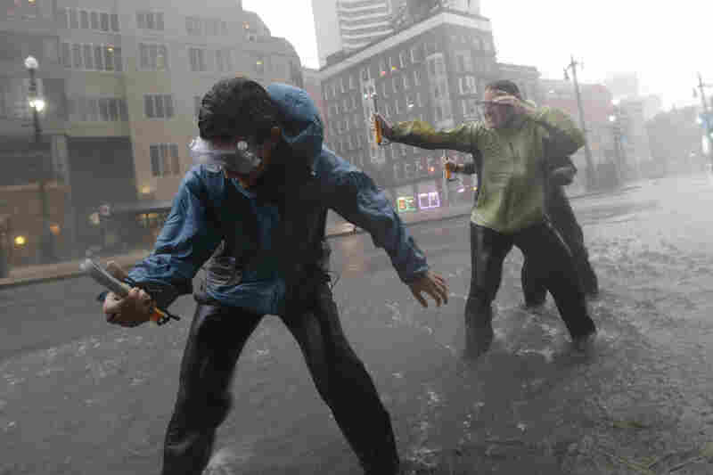 Research students from the the University of Alabama measure wind speeds as Hurricane Isaac makes landfall Tuesday in New Orleans.