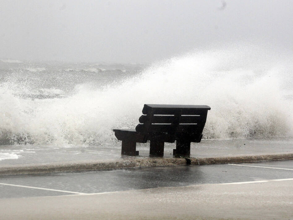 Waves from Hurricane Isaac batter a pier in Gulfport, Miss. (AP)
