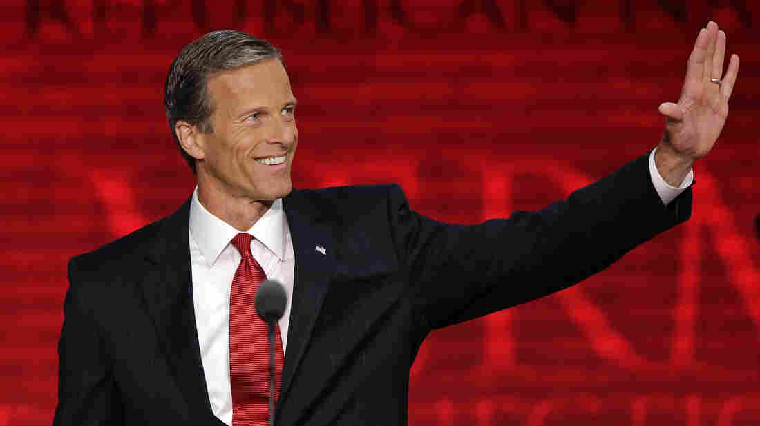 South Dakota Sen. John Thune waves to delegates during the Republican National Convention in Tampa, Fla., on Wednesday.