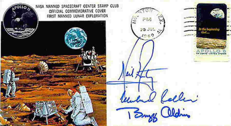 A astronaut cover signed by Neil Armstrong.