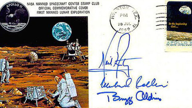 A astronaut cover signed by Neil Armstrong. (via collectspace.com)