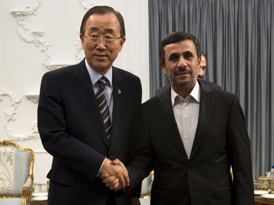 U.N. Secretary-General Ban Ki-moon (left) and Iranian President Mahmoud Ahmadinejad hold talks at the Iranian president's office in Tehran on Wednesday. (AFP/Getty Images)