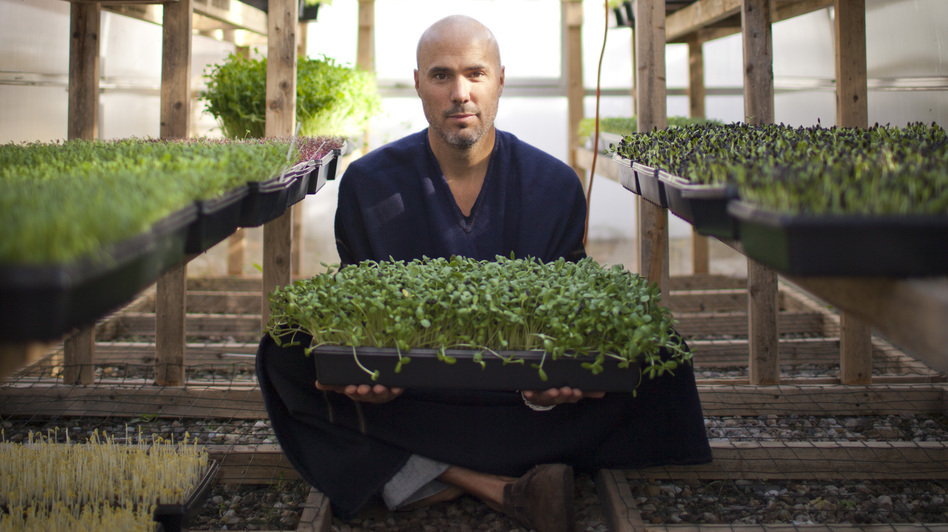 Brendan Davison grows 11 kinds of microgreens, including arugula and basil, at his Good Water Farms in East Hampton, N.Y. (Lindsay Morris)