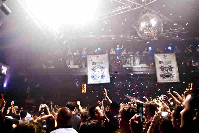 The dance floor and guests are covered in confetti at the Amphitheater nightclub in Tampa.