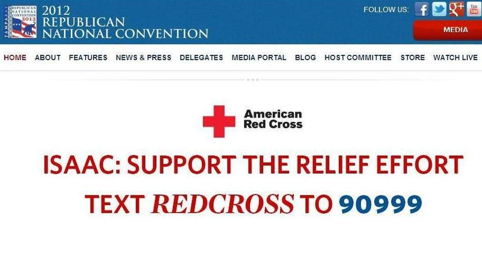 The website of the 2012 Republican National Convention this afternoon. (2012 Republican convention)
