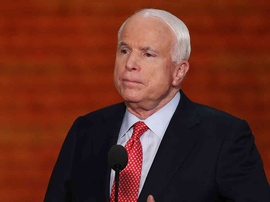 Sen. John McCain, R-Ariz., during his address to the Republican National Convention in Tampa on Wednesday.