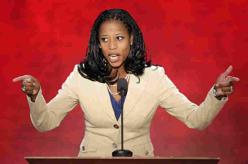 Mayor of Saratoga Springs, Utah, Mia Love addresses the Republican National Convention on Tuesday.