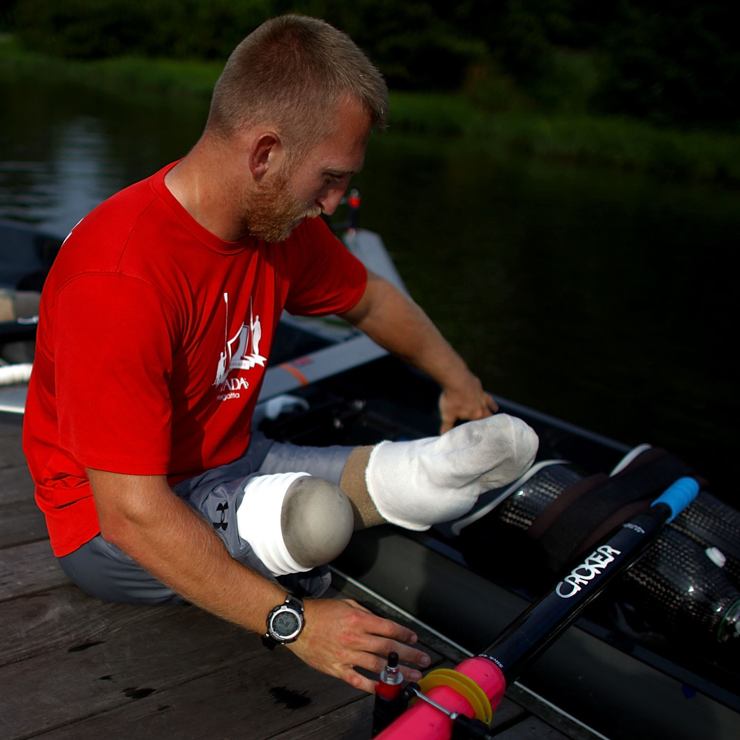 Rob Jones and Oksana Masters will compete in adaptive rowing at the London Olympics this week. Jones is a former U.S. Marine who lost both legs to an improvised land mine in southern Afghanistan.