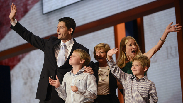 Republican vice presidential nominee Paul Ryan and his wife, Janna (at right), along with two of their children and his mother, Betty, on stage Wednesday in Tampa. (AFP/Getty Images)