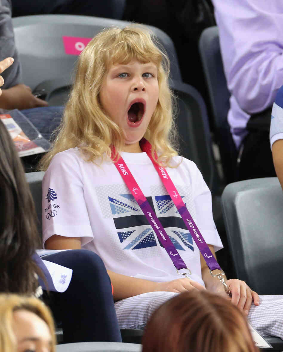 Lady Louise Windsor yawns while watching the track cycling on day 1 of the London 2012 Paralympic Games.