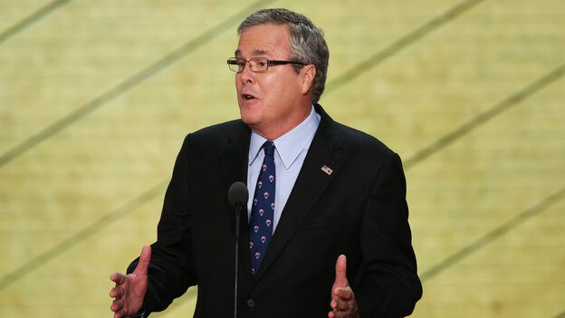 Former Florida Gov. Jeb Bush speaks Thursday at the Republican National Convention.