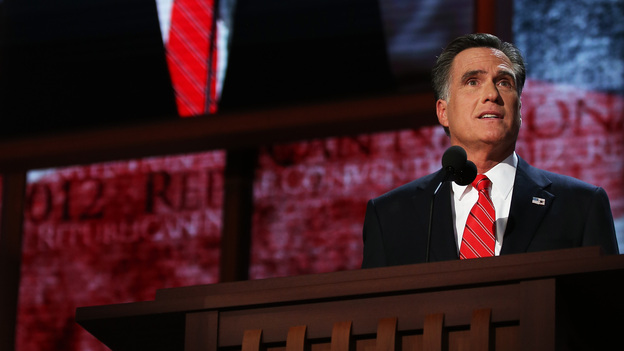 Mitt Romney delivers his acceptance speech Thursday at the Republican National Convention. (Getty Images)