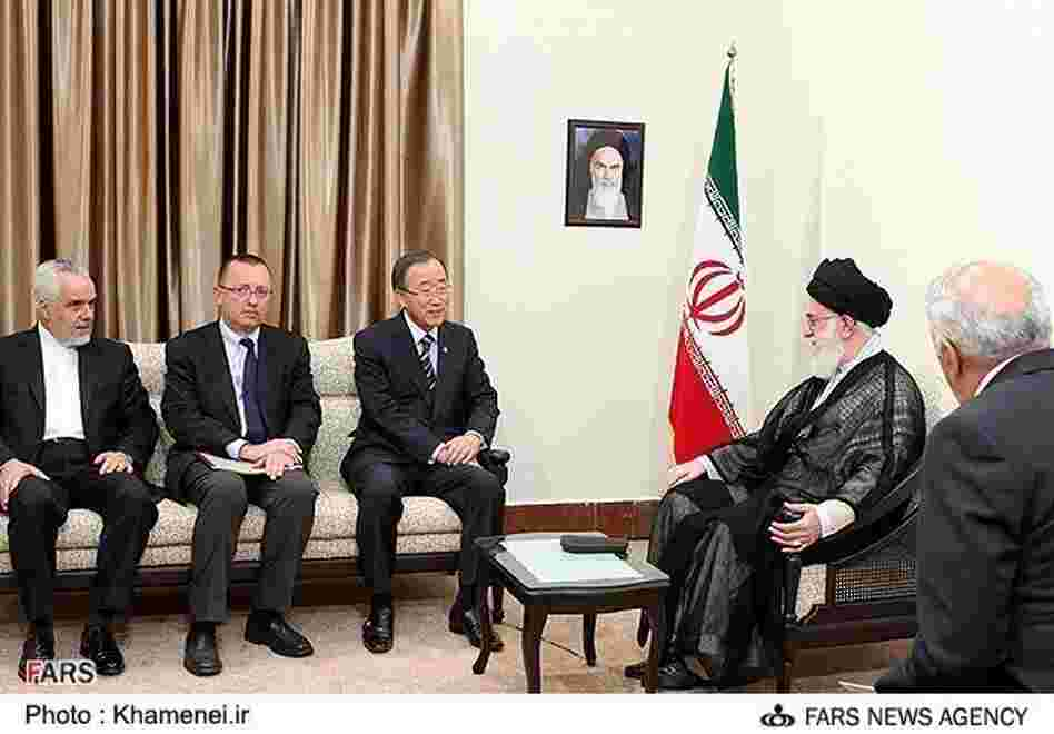 U.N. Secretary-General Ban Ki-moon meets with Iran's supreme leader Ayatollah Ali Khamenei during a meeting of the Nonaligned Movement.