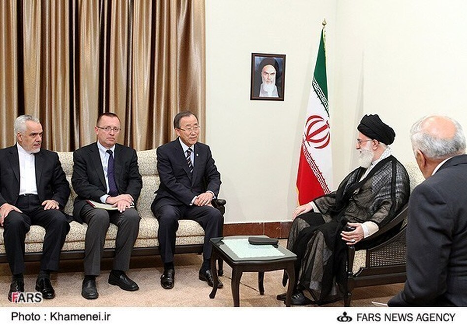 U.N. Secretary-General Ban Ki-moon meets with Iran's supreme leader Ayatollah Ali Khamenei during a meeting of the Nonaligned Movement. (Fars News Agency)