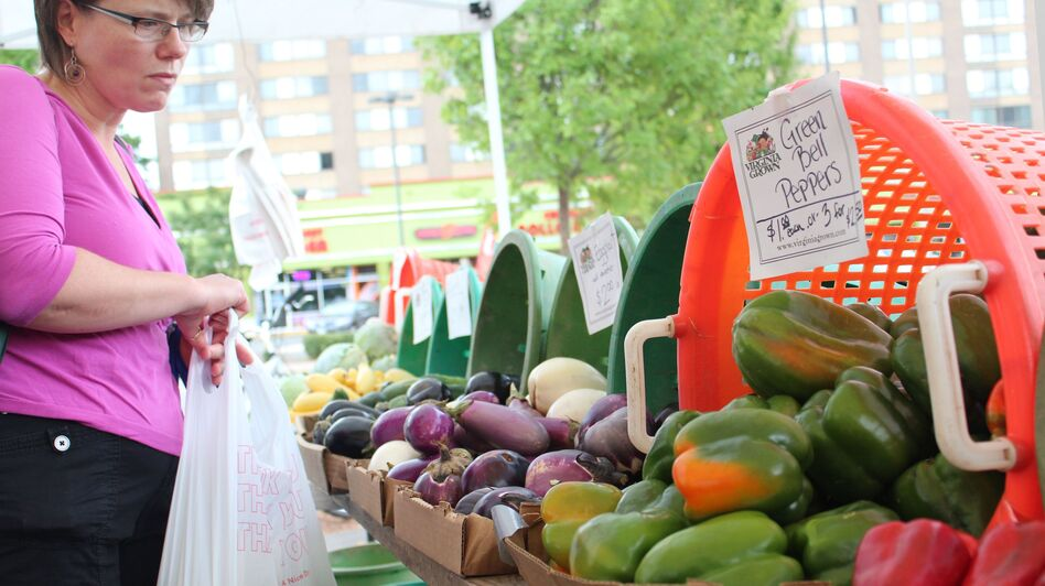 The Four Mile Run Farmers and Artisans Market sits beside a park in a strip of suburbia that was neglected for a long time. (Dan Charles/NPR)
