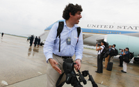 Arun Chaudhary is the first official White House videographer. He is shown above in front of Air Force One after accompanying President Obama to the Gulf Coast region in June 2010.