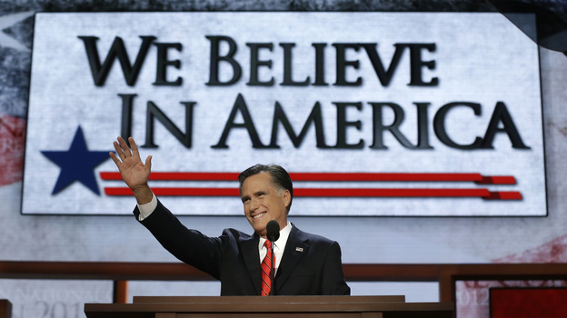 Mitt Romney accepts the Republican nomination for president at the party's convention Thursday. (AP)