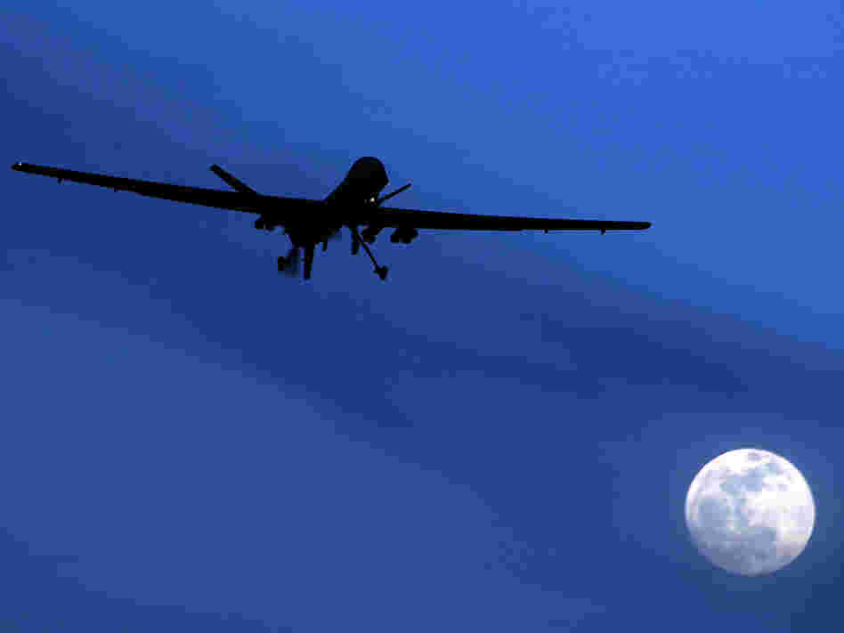 An unmanned U.S. Predator drone flies over Kandahar Air Field in Afghanistan in 2010. Apple has rejected an app that tracks U.S. drone strikes around the world.