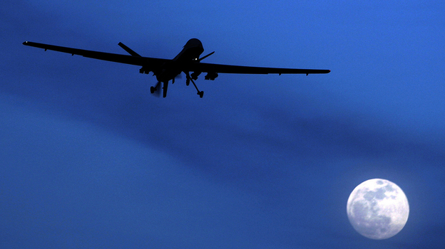 An unmanned U.S. Predator drone flies over Kandahar Air Field in Afghanistan in 2010. Apple has rejected an app that tracks U.S. drone strikes around the world. (AP)