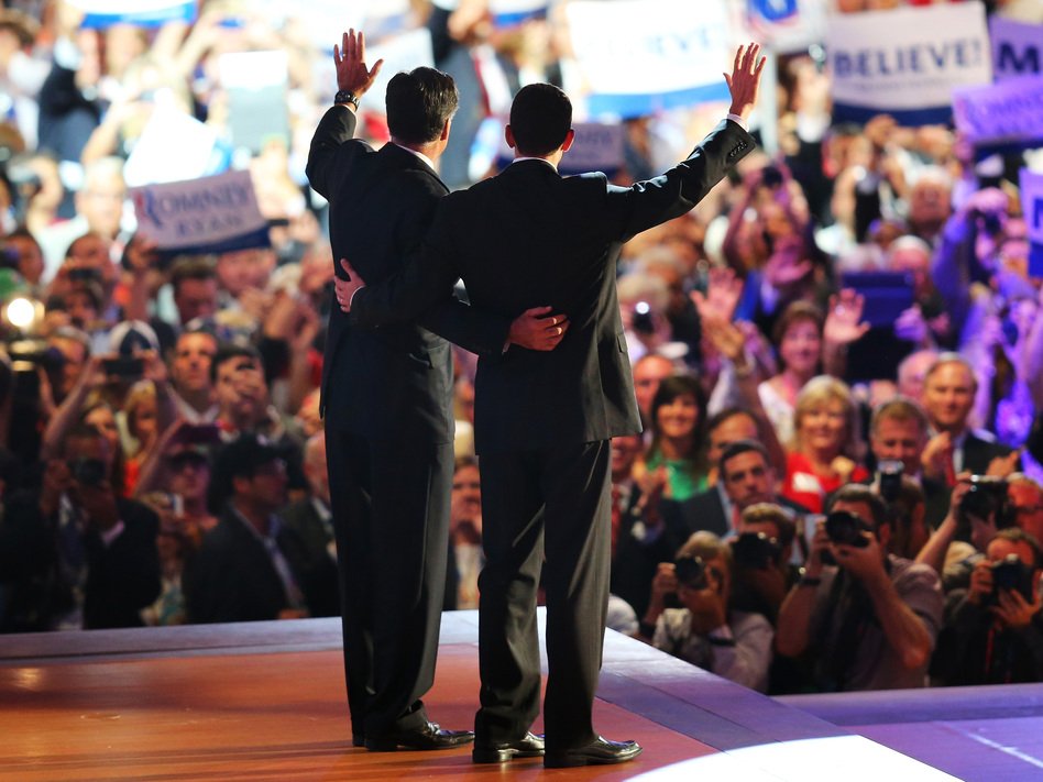 The Republican ticket: Mitt Romney (left) and Rep. Paul Ryan wave as the 2012 Republican National Convention winds up Thursday in Tampa, Fla. Romney accepted the party's presidential nomination. Ryan is his running mate.