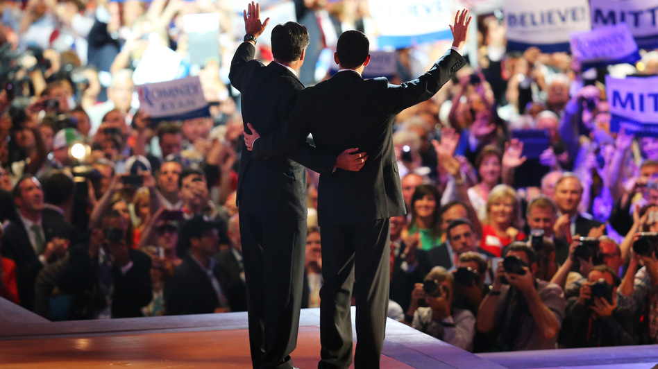 The Republican ticket: Mitt Romney (left) and Rep. Paul Ryan wave as the 2012 Republican National Convention winds up Thursday in Tampa, Fla. Romney accepted the party's presidential nomination. Ryan is his running mate. (Getty Images)