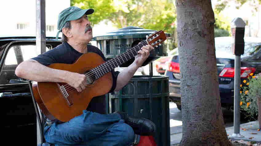 """""""My first memories are listening to music and feeling my body tingle,"""" says Philip Rosheger, a classical guitarist who performs outdoors in Berkeley, Calif."""