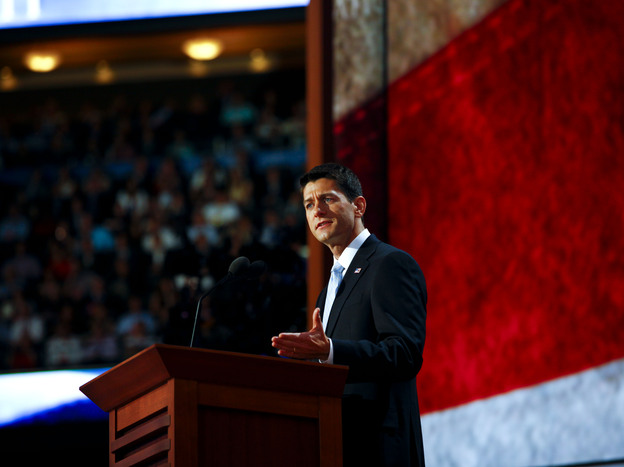 Republican vice presidential nominee Rep. Paul Ryan, R-Wis., speaks Wednesday at the Republican National Convention. (NPR)