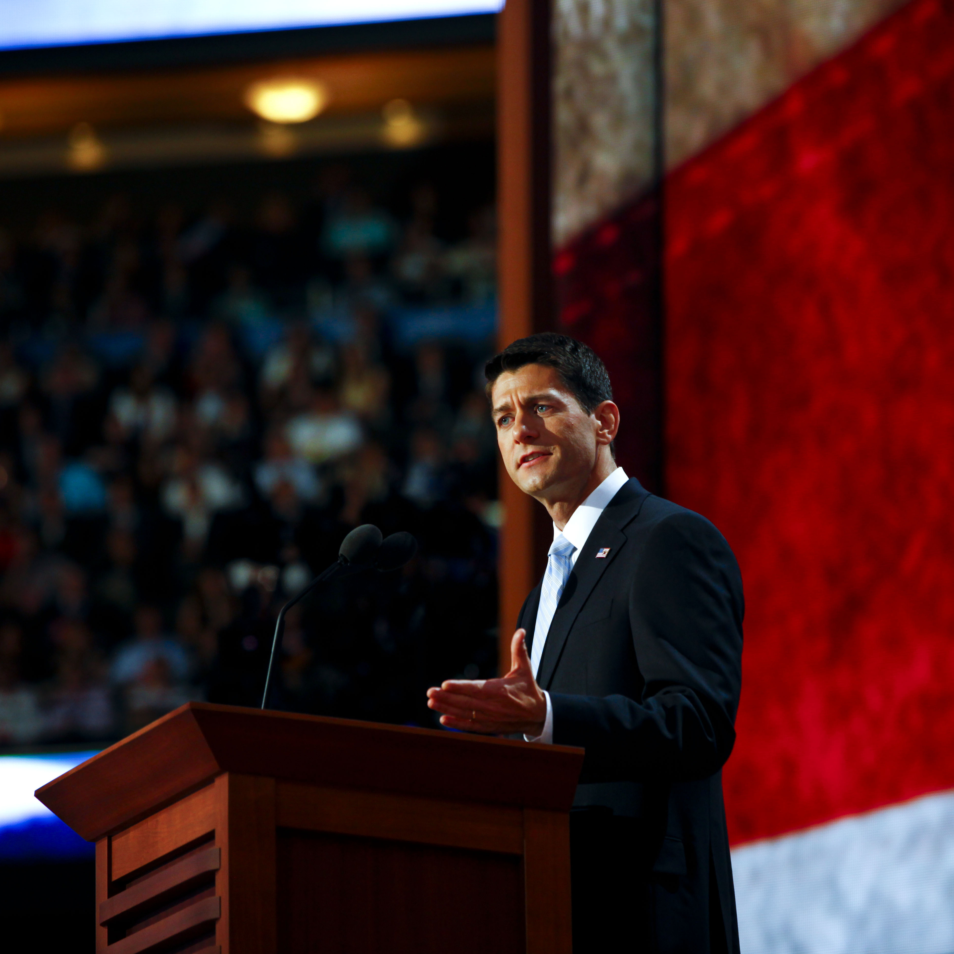 Republican vice presidential nominee Rep. Paul Ryan, R-Wis., speaks Wednesday at the Republican National Convention.