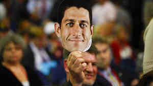 A delegate shows his support for Paul Ryan on a night dominated by the acceptance speech of the vice presidential nominee.