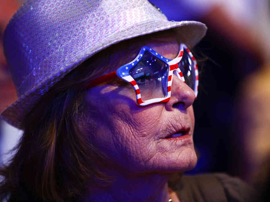 Carol Hurst of Merritt Island, Fla., listens to a speaker on Wednesday at the Republican National Convention.