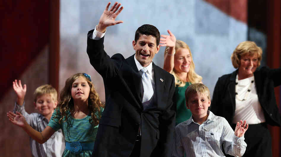 Republican vice presidential candidate, Rep. Paul Ryan waves with his family Wednesday at the GOP convention in Tampa. Also on stage: his daughter Liza, sons Charlie and Sam Ryan, wife Janna and mother Elizabeth.